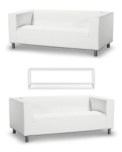 Noleggio divani in ecopelle e tavolino Code per eventi - NoleggioDesign