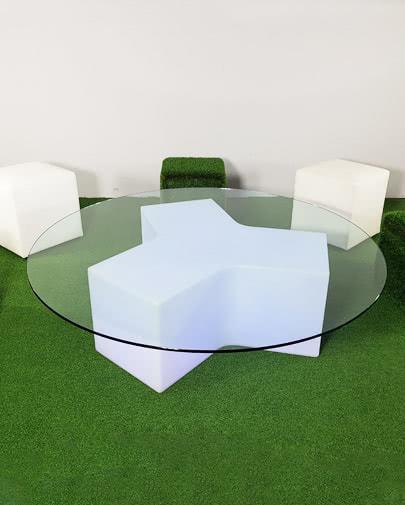 noleggio tavolo componibile con piano in cristallo su ypsilon